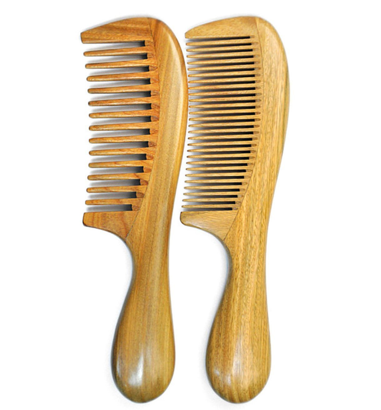 LiveZone Handmade Natural Green Sandalwood 2-Count(Minute Tooth and Wide Tooth Wood Comb) Hair Comb with Natural Wood Aromatic Scent ,with Handle