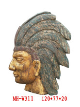Antique wooden carving Indian head relief wall panel