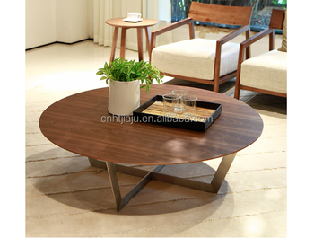 Hot Sale Modern Wooden Coffee Table Round Metal Leg Coffee Table