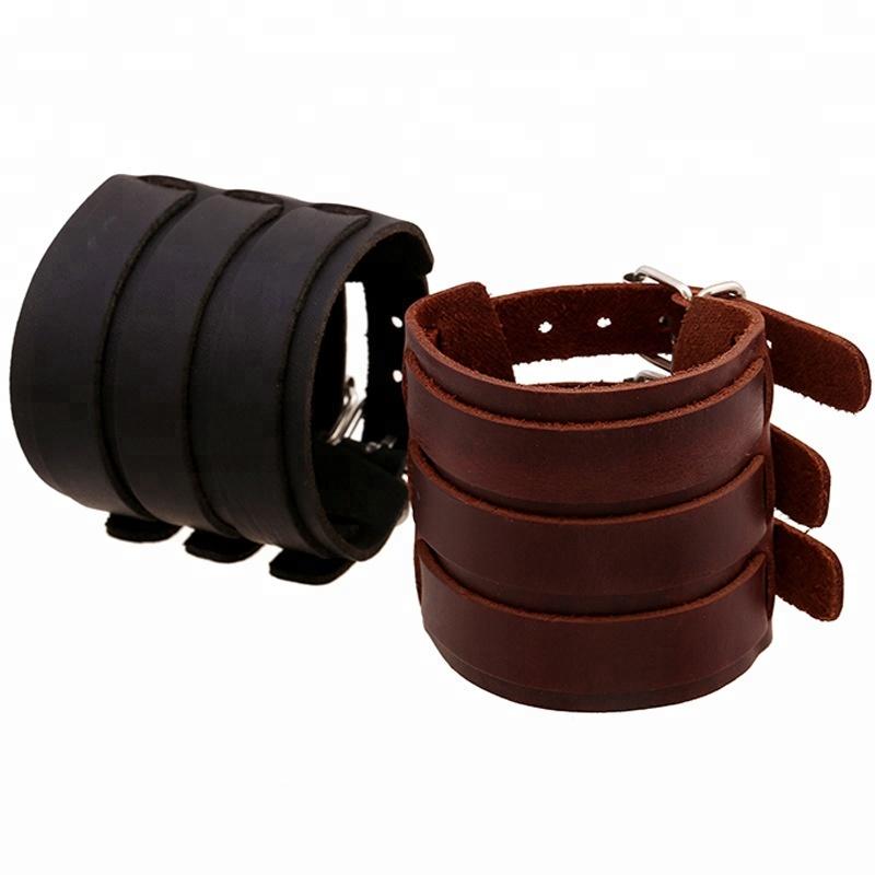 Wide Men Cuff Wrap Leather Bracelet