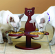 Wooden Multi-Cat Raised Feeder With 3 Metal Bowls Animal Feeder