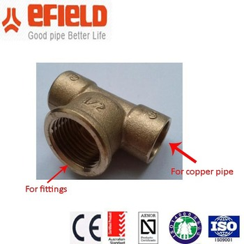 Ce Certified Cw 617 Brass Tee Copper Pipe Fitting