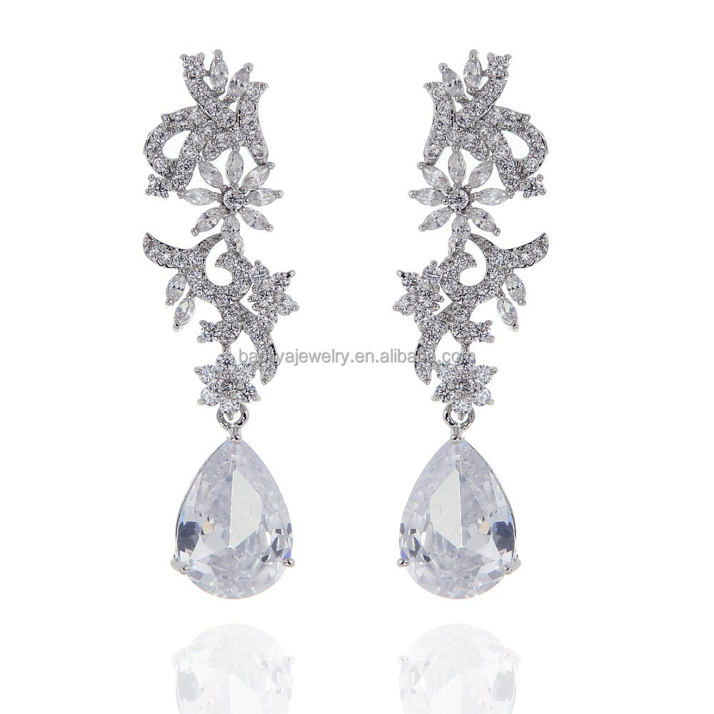 2015 Fashion Promotional Earrings Platinum Plated Jewelry Genuine Cubic Zircon Dangle Earring