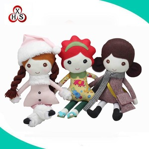 Best made custom OEM plush stuffed rag doll handmade cloth doll