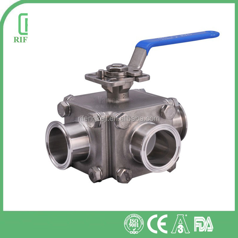 Stainless Steel 316L Clamped End 1000 WOG New Sanitary 3 Way Ball Valve