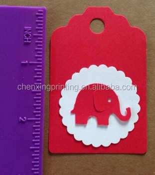 Red White Paper Hang Tags Baby Shower Party Favor Label Gift