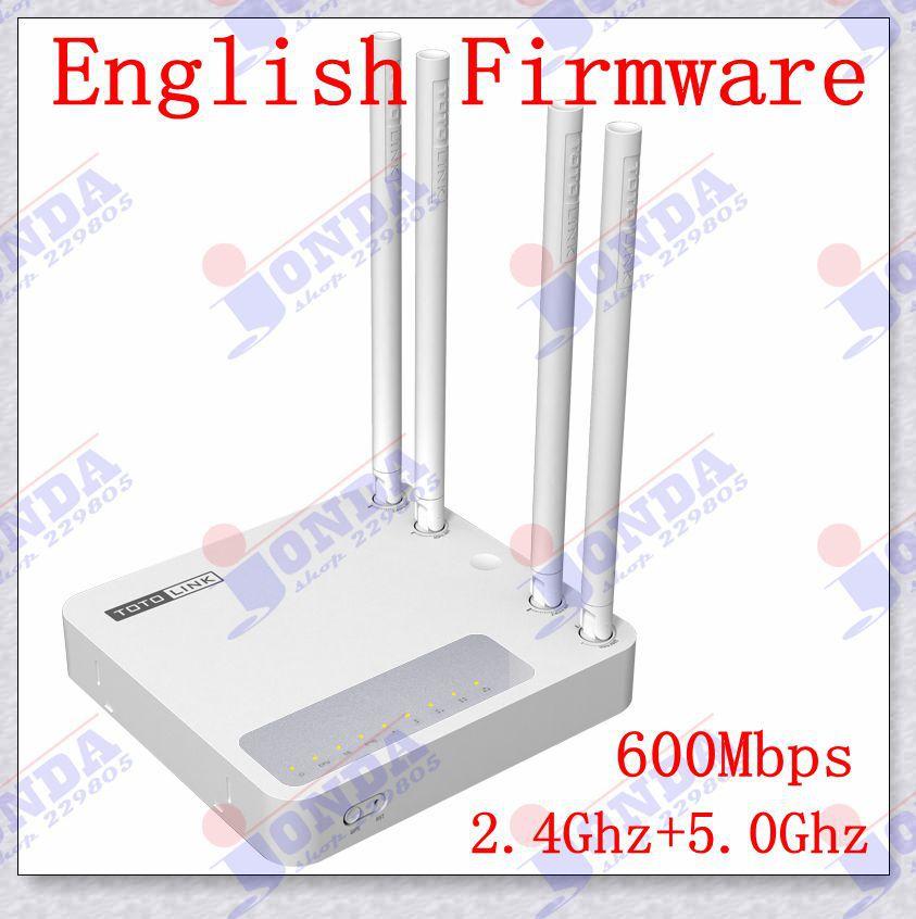 Английский прошивка Totolink би-частота беспроводной маршрутизатор 2.4 ГГц 5 ГГц маршрутизатор Qos N610RT Wifi 600 Мбит Wieless N двухдиапазонный маршрутизатор