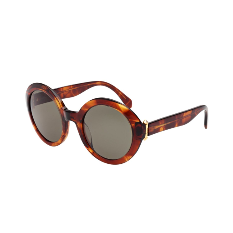 482ba2ae95cf6 Alexander McQueen 0002S 002 Havana Green 0002S Round Sunglasses Lens  Category 3