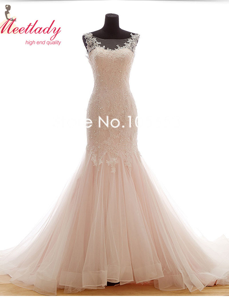 ceecb70ff5 Get Quotations · Pink Mermaid Tail Wedding Dress Long Lace Applique Wedding  Gown Pearls Beaded Bridal Gown A164