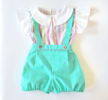 Latest Girls Suspender Trousers Cloth Overalls With T-shirts Boutique Clothes Sets