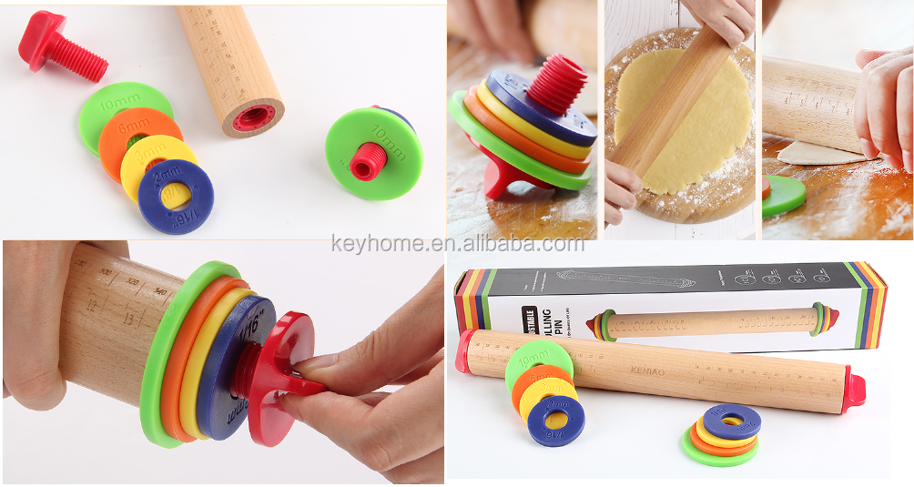 High Quality Rolling Pin for Flat Dough Wooden Adjustable Rolling Pin