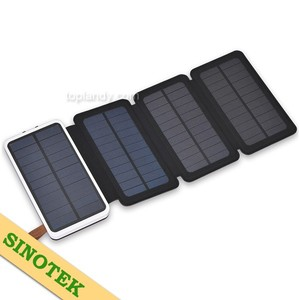 SINOTEK durable 5.2w 3-fold panel 20000mAh li-polymer power bank solar battery charger