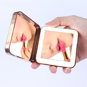 Lighted Compact folding handheld makeup mirror magnifying led travel mirror