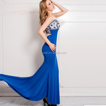 Blue lace tee sleeveless elegant wedding dress 2016