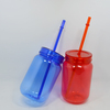 New Products 2018 BPA free AS plastic Double wall mason jars with lid and straw
