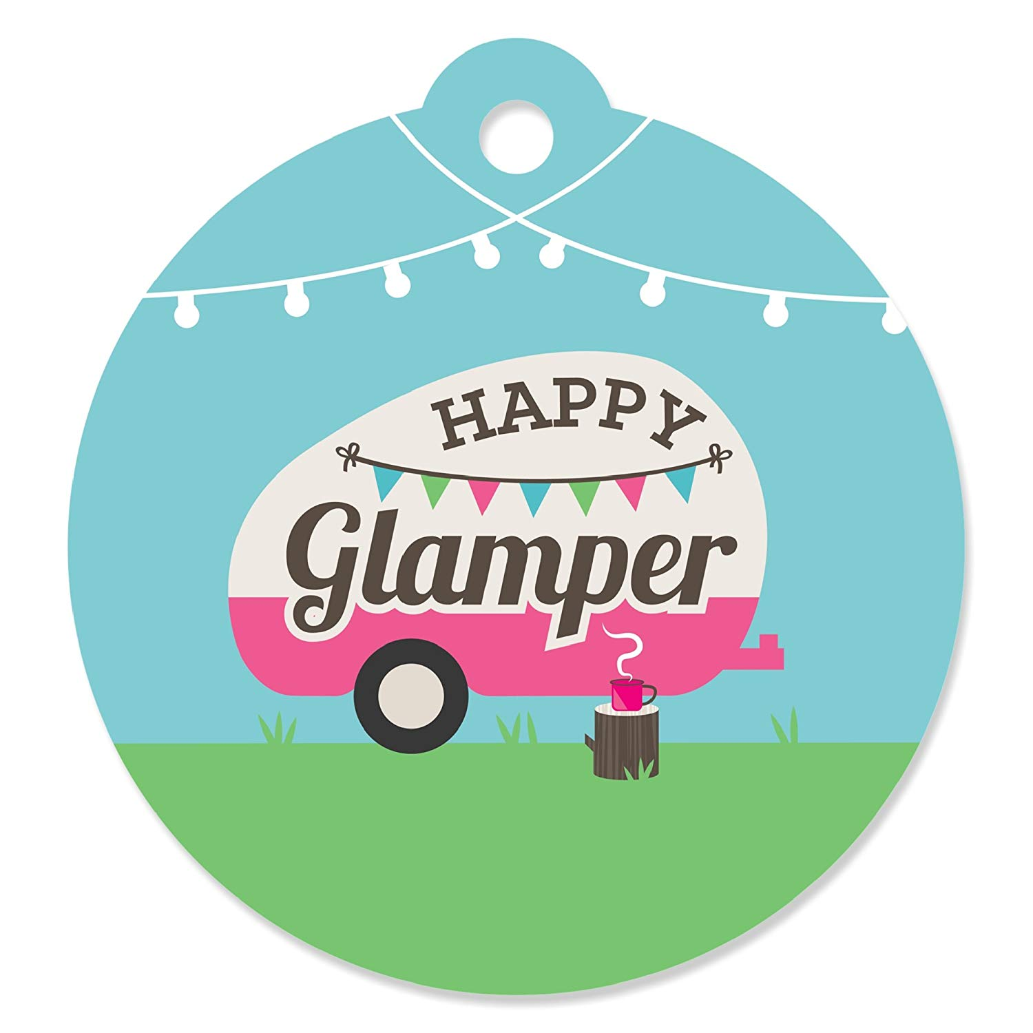 Let's Go Glamping - Camp Glamp Party Or Birthday Party Favor Gift Tags (Set of 20)