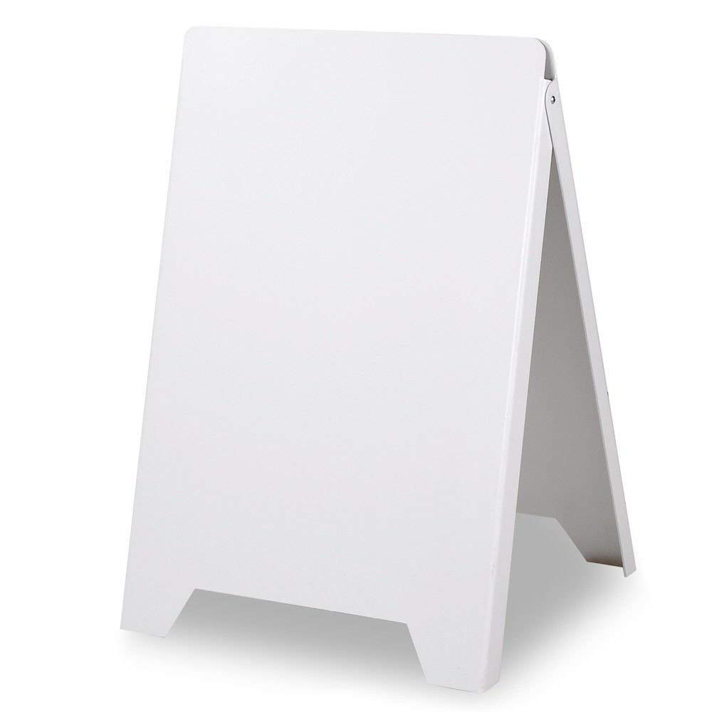 Double Side Foldable Blank Board for Advertising Printing Banner – White Sidewalk Pavement A Frame PVC Sandwich Board Dry Erase Menu Sign - Works Great for Restaurant, Cafe, Pub, Retail Stores, Market