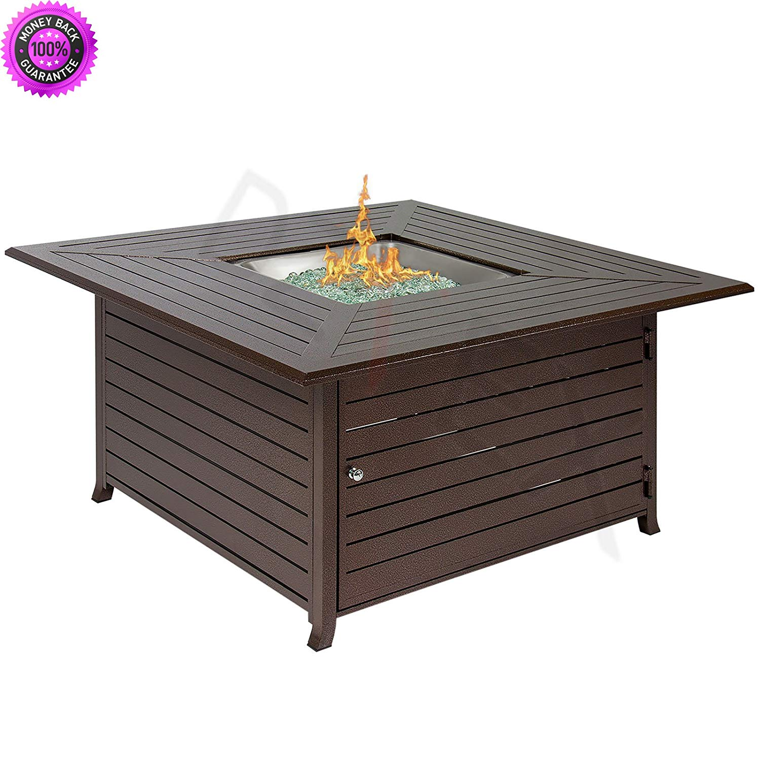 Get Quotations Dzvex Extruded Aluminum Gas Outdoor Fire Pit Table With Cover And Clay Chiminea For Mexican