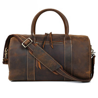 Vintage Cowhide Cow Leather Travel Bag Leather Holdall Brown Leather Duffle Bag Oem