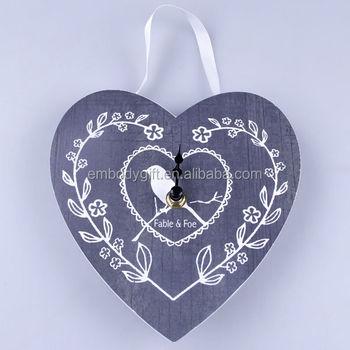 Ev Dekorasyon Gri Kalp şekli Ile Mdf Duvar Saati Kuş Desen Boyama