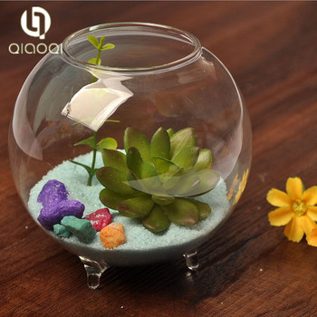 Clear Glass Vase Fish Tank Ball Bowl With Feet Buy Clear Glass