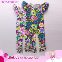 Boutique Baby Girls Floral Printed Jumpsuit New Summer Flutter Sleeve Ruffled Icing Romper