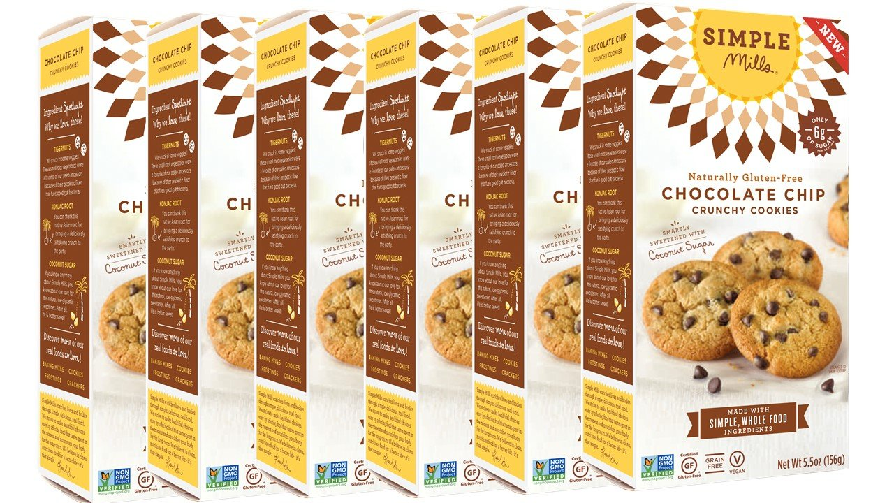 Simple Mills Naturally Gluten Free Crunchy Cookies, Chocolate Chip, 6 Count PACKAGING MAY VARY