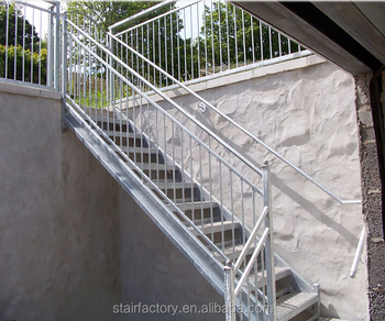 Outdoor Metal Staircase, Outdoor Stair Railing Design, Galvanized Stairs,  Outdoor Prefabricated Steel StairsTS