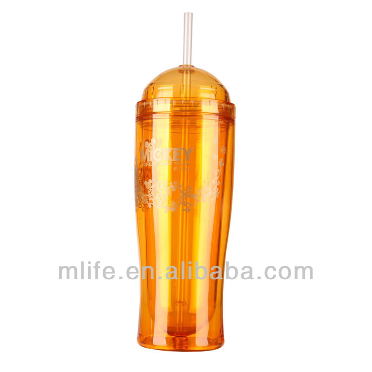 novelty plastic drinking straw cups , plastic led cups with straw , hot cold cup with straw