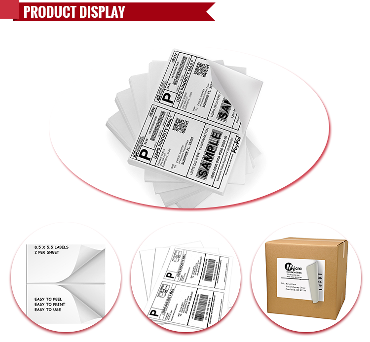 "White Half Sheet Address Mailing Shipping Labels for Laser and Inkjet Printers (Self Adhesive) UPS USPS FEDEX-5-1/2"" x 8-1"