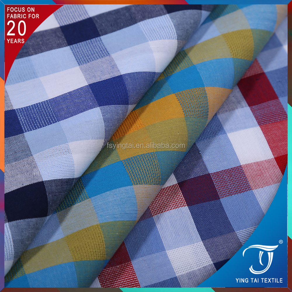 woven check patten 100%cotton yarn dyed poplin fabric for shirt scraft 40S