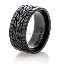 MEN'S EAGLE F1 SUPER CAR TIRE TREAD RING BLACK TITANIUM ZIRCONIUM RING