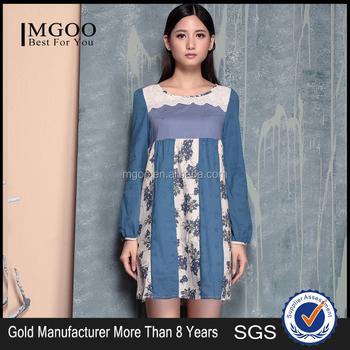 731a6f204a MGOO High Quality Women Fashion Korean Ladies Long Sleeves Linen Dresses  Above Knee Length Ethnic Print