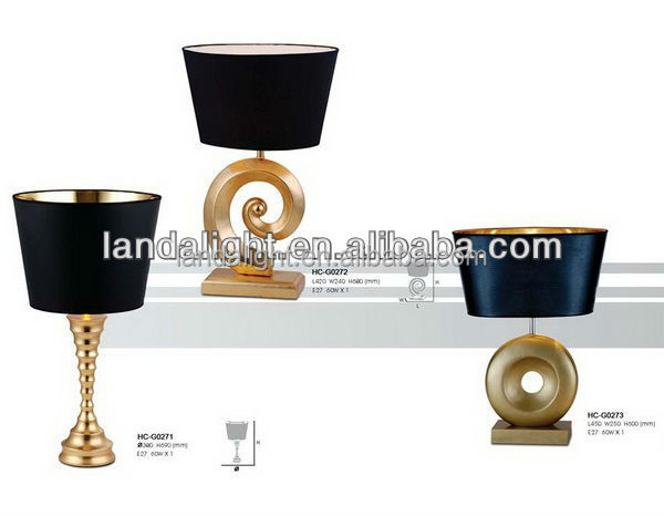 modern gold metal base with black lampshade table lamp hot new products for hotel