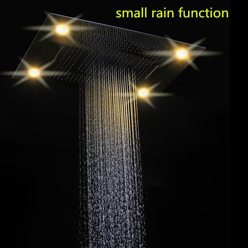 luxury rain waterfall rain curtain 6080cm ceiling rain shower head recessed remote control led