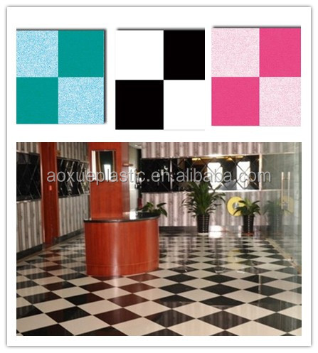 Black white check design white felt backing pvc/ vinyl flooring