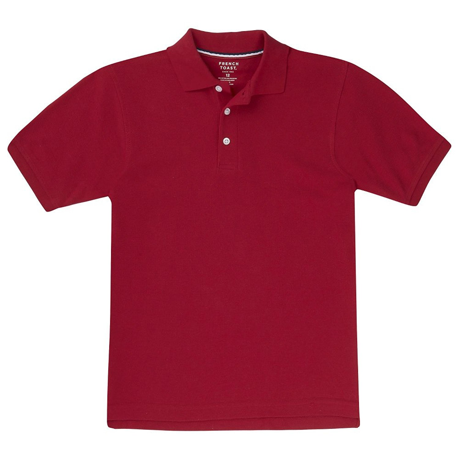 French Toast School Uniform Boys Short Sleeve Pique Polo Shirt, Red, 20