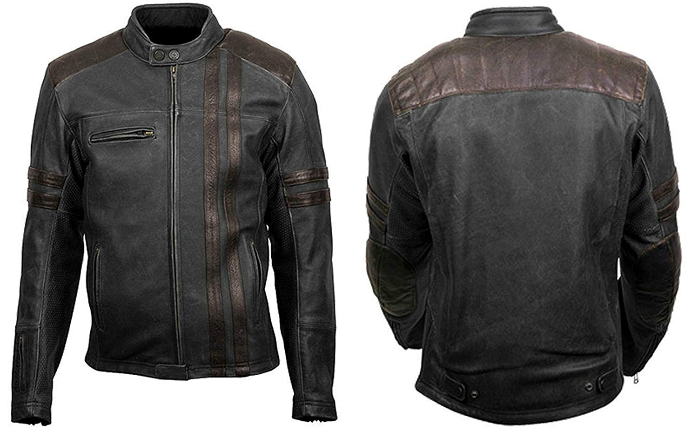 Fashions Maniac Cafe Racer Retro Scorpion Vintage Biker Classic Black Leather Jacket | Cafe Racer Leather Jacket