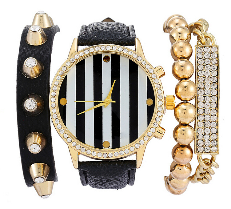 Hot Sale Beaded Rhinestone Chain Bracelet + Stripes PU Leather Quartz Watches Clock Women Dress Wristwatches 2015 relojes mujer