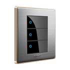 metallic 3gang 1way rest click light switch