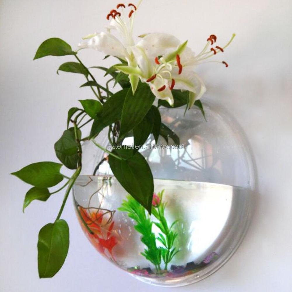 Wall Mount Fish Bowl Acrylic Aquarium Tank Beta Goldfish Hanger ...