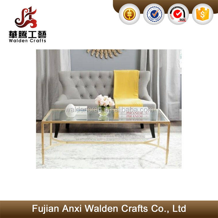 2017 Metal and glass gold elegant rectangular coffee table home decoration table