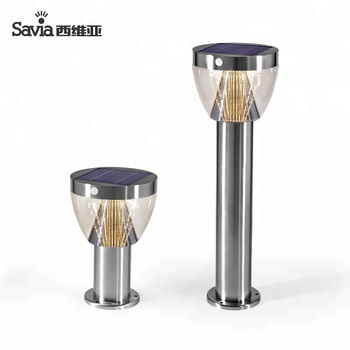 Charming Savia Solar Street Light Outdoor 8W LED Outdoor IP44 Stainless Steel Garden  Lights Solar Outdoor Lamp