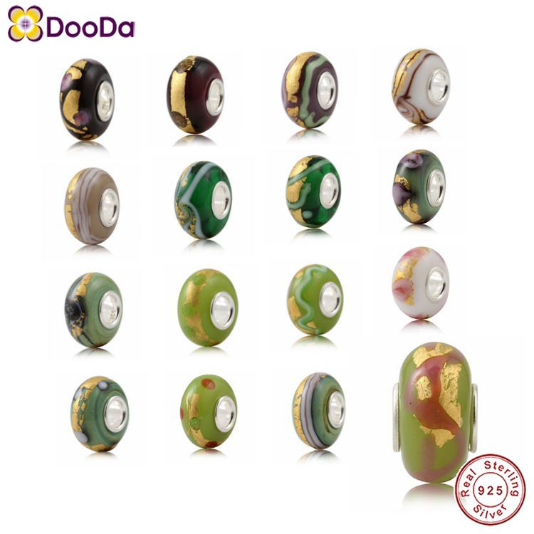 Dooda Jewelry 24K Gold Foil Glass Beads Charms with 925 Silver Core Wholesale for European Style Bracelets