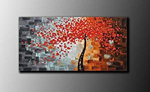 Ode-Rin Art Christmas Gift 100% Hand Painted on Canvas Hand Made Framed Abstract Art Oil Painting Dazzling Red Tree Landscape Canvas Painting 1-pieces Artwork for Living Room Home and Wall Decor