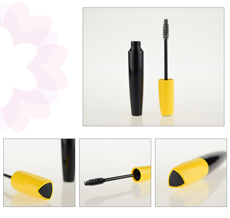 Cosmetics plastic empty container wand black mascara tube with cap