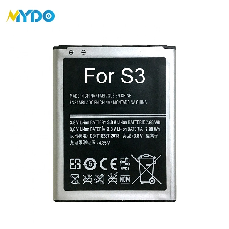 Hot sales mobile phone battery gb t18287 2000 for samsung galaxy s3 i9300