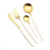 White&Gold-4pcs of Spoon,Knife,Fork,Tea spoon