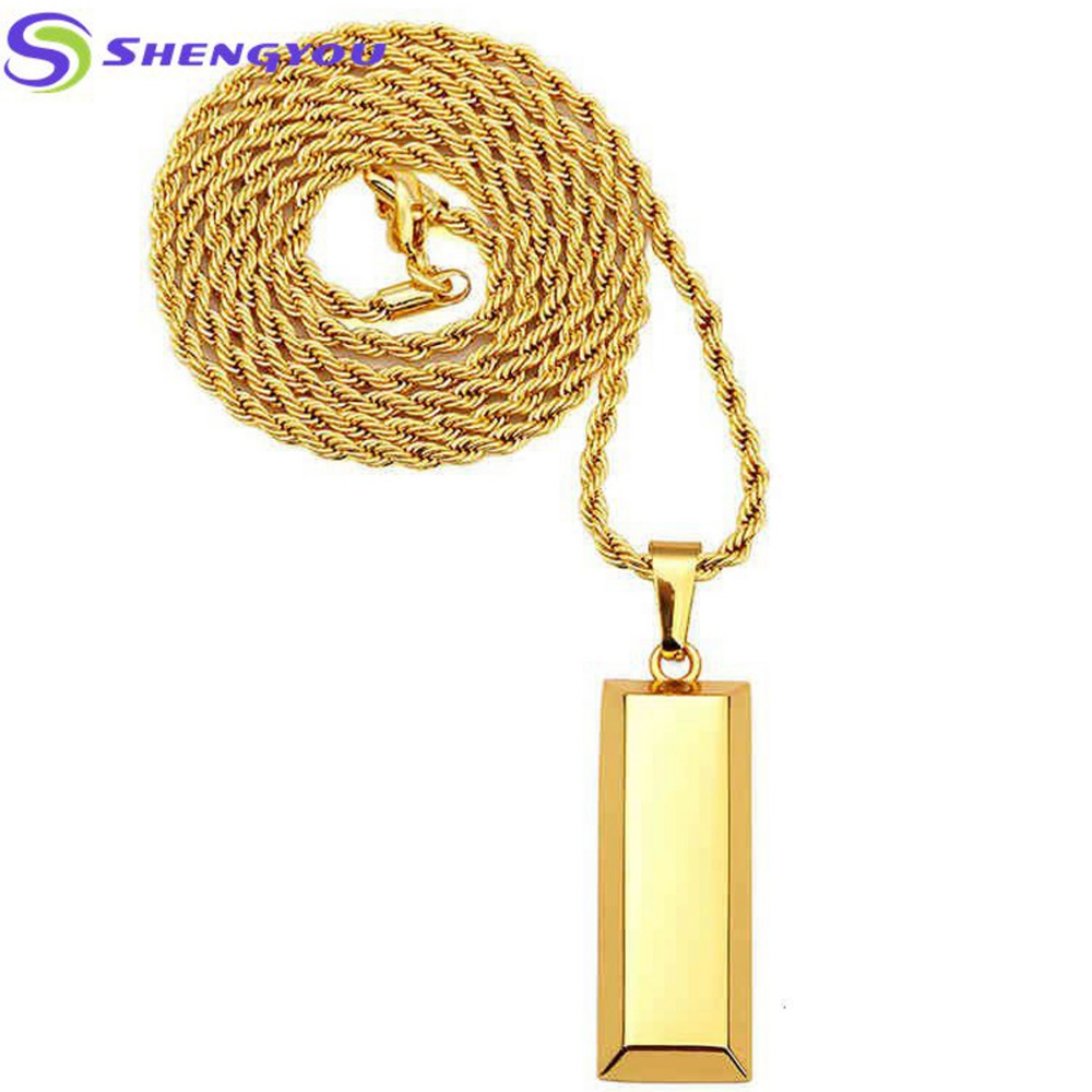 Elegant Fashionable Jewelry High Quality 18K Solid Gold Twist Chain Necklace With Gold Bar Pendants Hip-pop Necklace