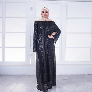 2018 New fashion shinning sequin black abaya muslim dresses